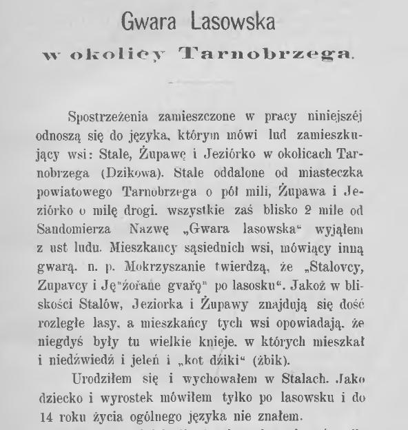 Gwara Lasowska w okolicy Tarnobrzega. Studyjum dyjalektologiczne Szymona Matusiaka, 1880